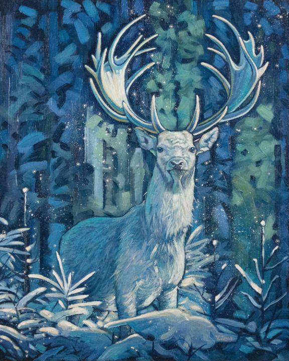 Frosty stag fantasy oil painting - Yue Zeng