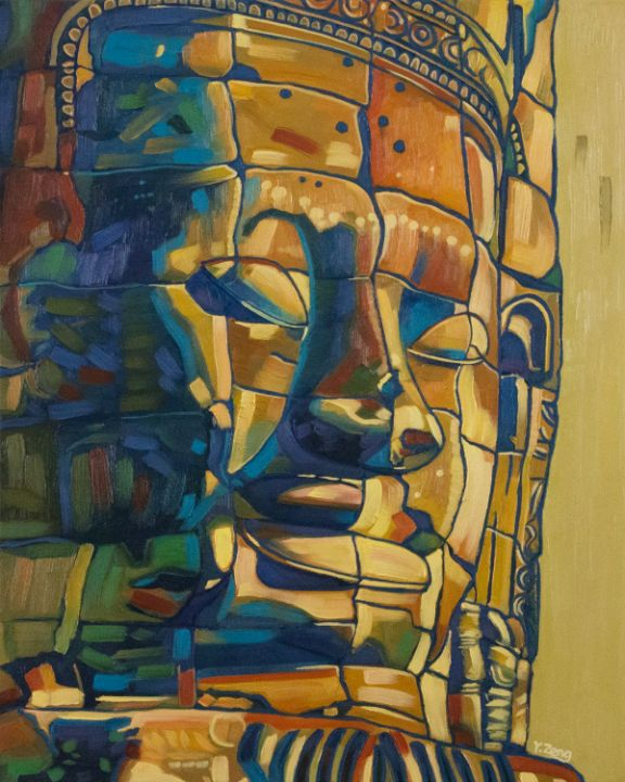 Khmer smile stone face statue - Yue Zeng