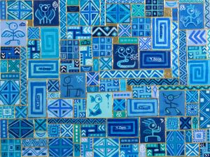 Upcycle #6 Old gods blue abstract