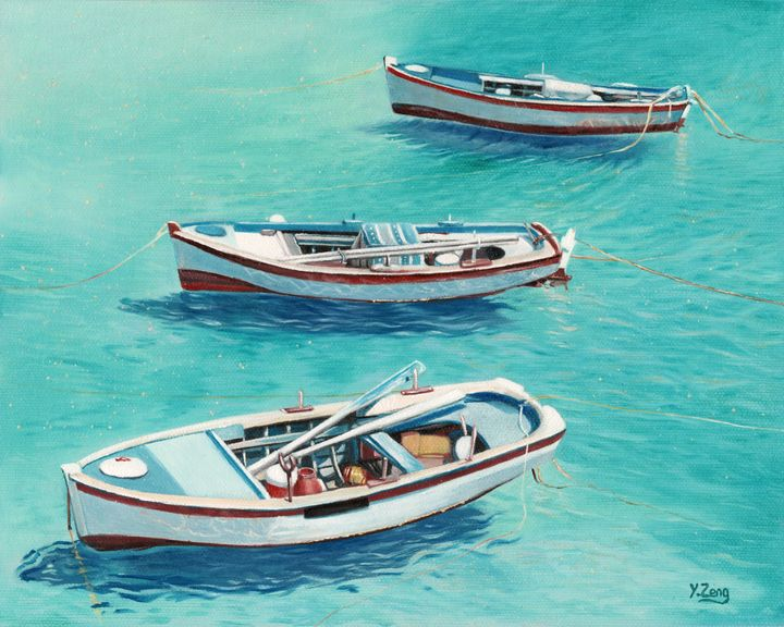 Oil painting - 3 boats - Yue Zeng