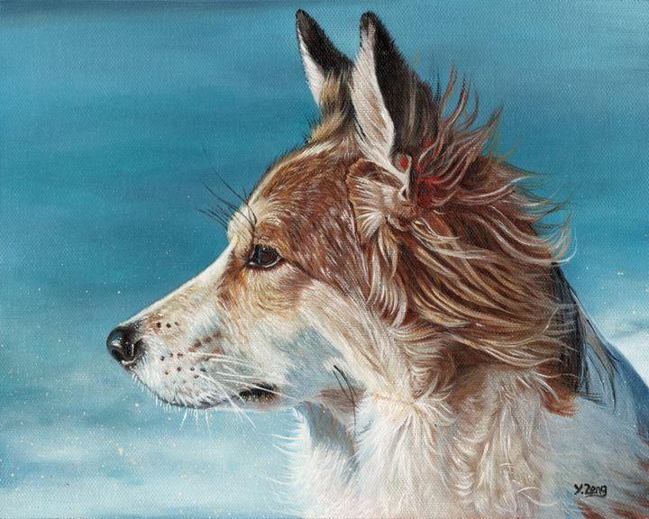 Oil painting - Corgi profile - Yue Zeng