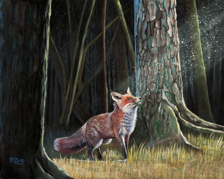 Oil painting - Red fox in forest - Yue Zeng