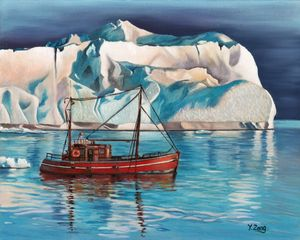 Oil painting - Iceberg and tug boat