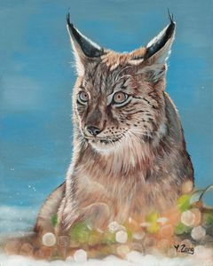 Oil painting - Lynx portrait