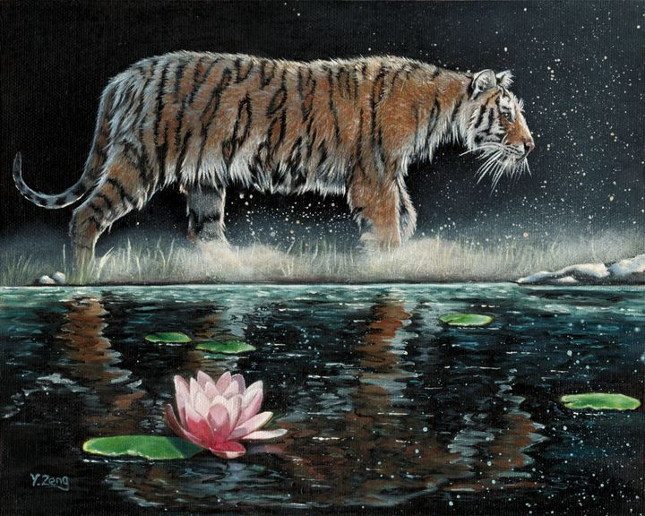 Oil painting - Tiger and Lily - Yue Zeng