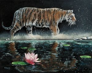 Oil painting - Tiger and Lily