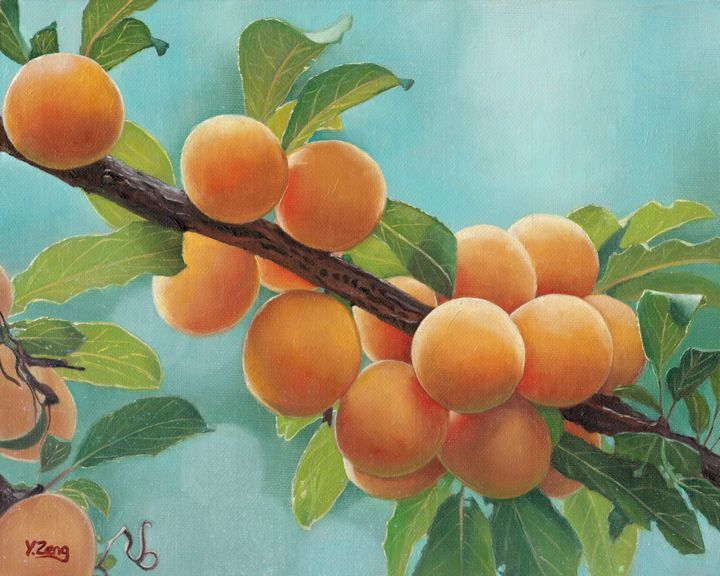 Oil painting - Apricots Plant - Yue Zeng