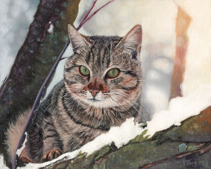 Oil painting - Cat in the tree - Yue Zeng
