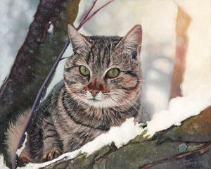 Oil painting - Cat in the tree