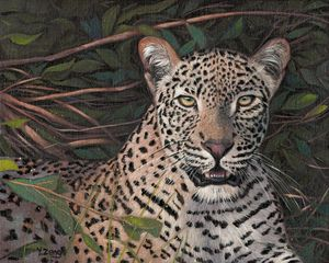Oil painting - Leopard portrait