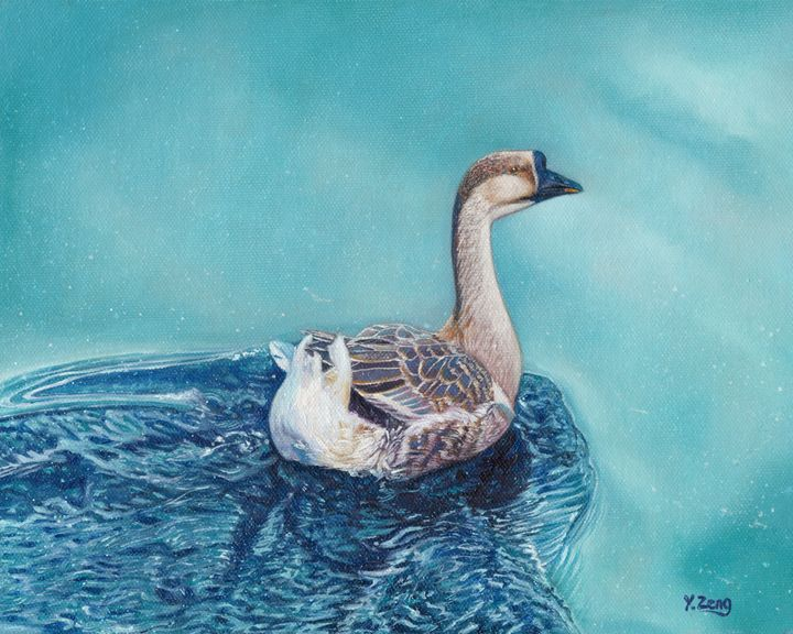 Oil painting - Swimming goose - Yue Zeng