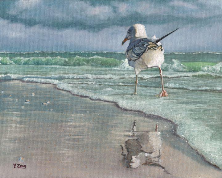 Oil painting - Bird beach walk - Yue Zeng
