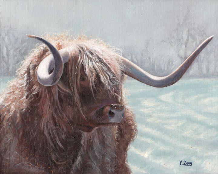 Oil painting - Highland bull - Yue Zeng