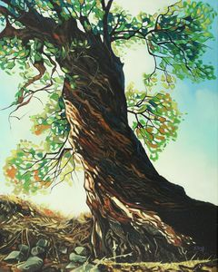 Big tree oil painting - Yue Zeng