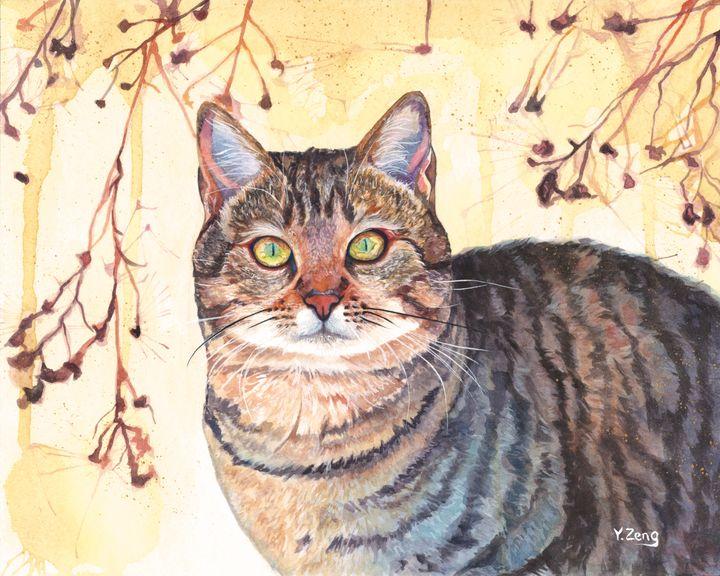 Cat watercolor painting - Yue Zeng