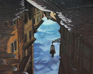 Lantern reflection oil painting - Yue Zeng