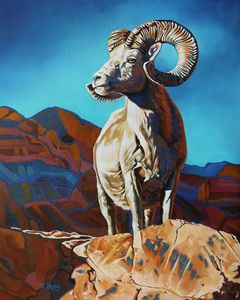Ram/Bighorn sheep oil painting - Yue Zeng