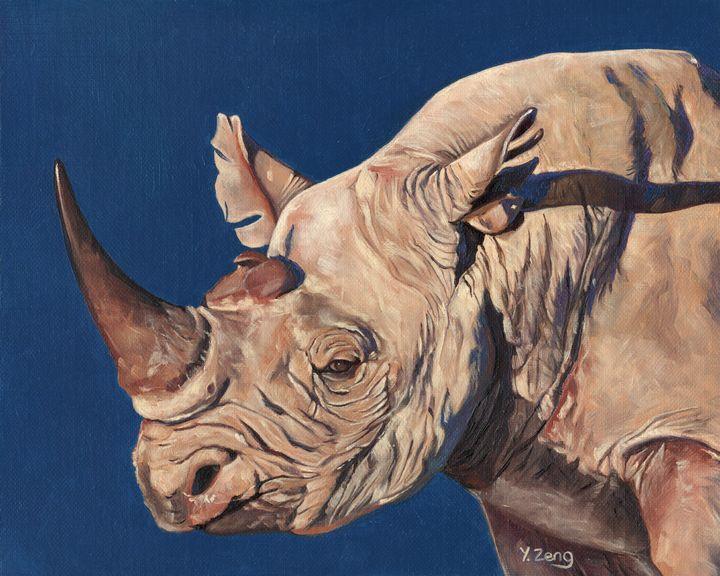 Rhino portrait oil painting - Yue Zeng