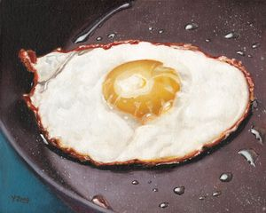 Fried egg in pan oil painting