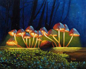 Oil painting glowing mushrooms