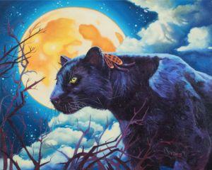 Original oil painting Black panther