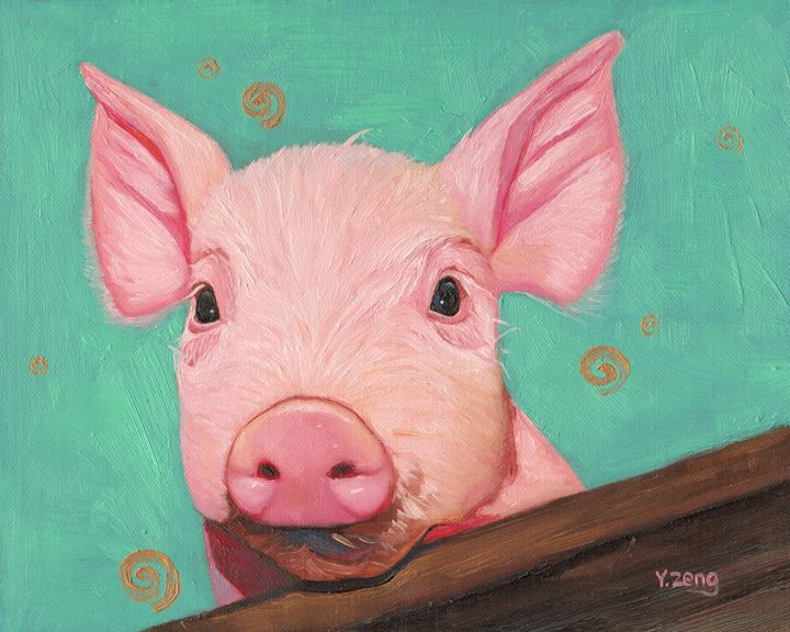 Oil painting piglet - Yue Zeng