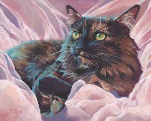 Oil painting pet portrait for cat