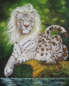 Mythical big cat oil painting