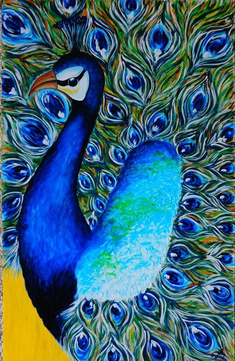 Elegant Peacock On Mat Board Colors Of Life Paintings