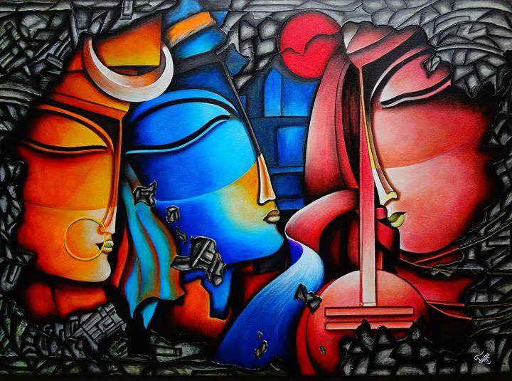 Modern art of Radha, Krishna & Meera - Colors Of Life