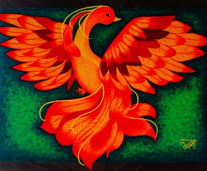Modern Phoenix on chop board - Colors Of Life