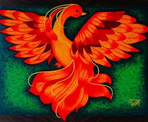 Modern Phoenix on chop board - Colors Of Life