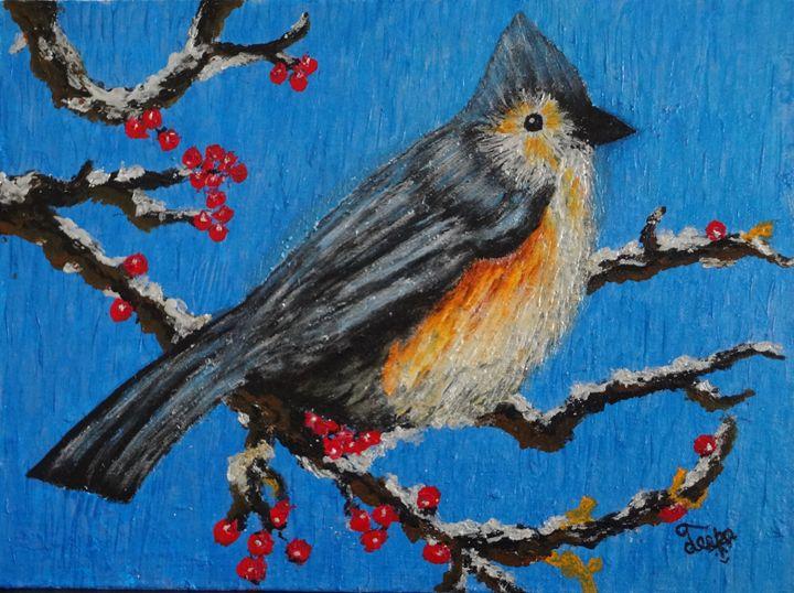 A Cardinal bird in snow - Colors Of Life