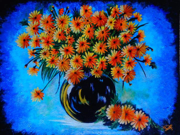 Palette knife painting- flower vase - Colors Of Life