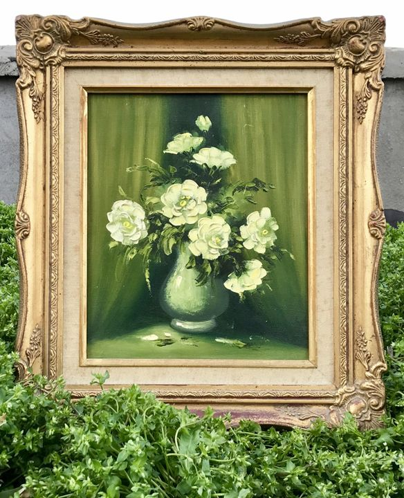 White Flowers, Framed Still Life Oil - New York Art Scout