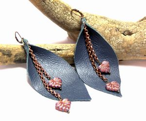 Large Blue Leather Earrings