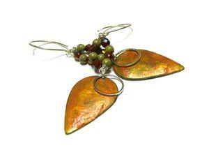 Orange Beaded Teardrop Earrings