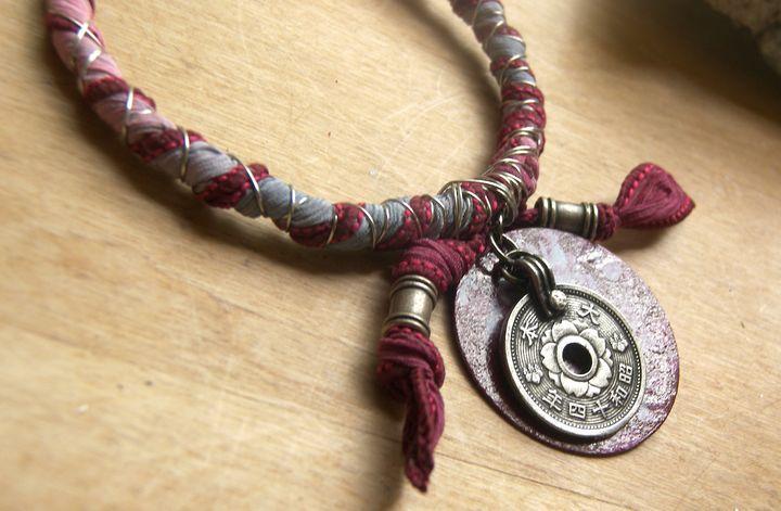 Silk Wire Wrap Charm Bracelet - Luna Essence Artistic Jewelry & Handbags