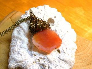 Wire Wrap Red Agate Pendant - Luna Essence Artistic Jewelry & Handbags