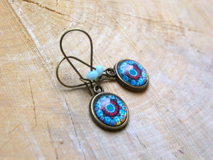 Mandela Cabochon 12 mm Earrings , gi - Luna Essence Artistic Jewelry & Handbags