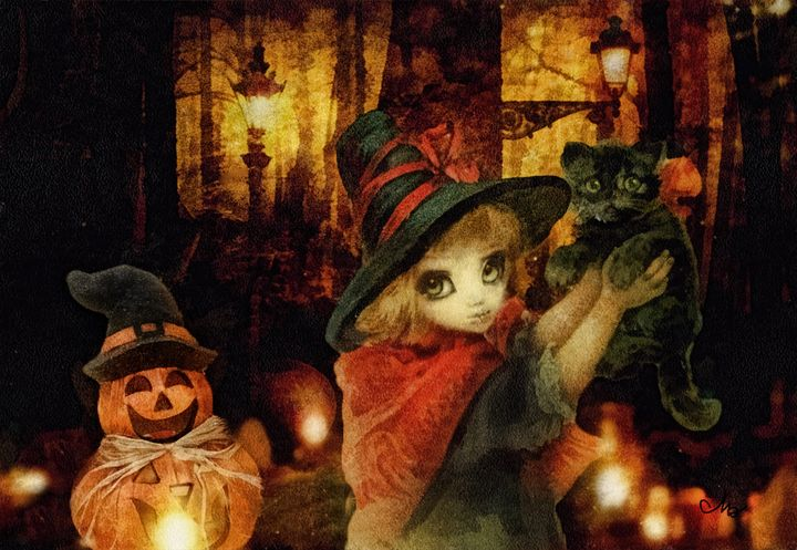 Little Witch Black Cat and Pumpkin - Mo