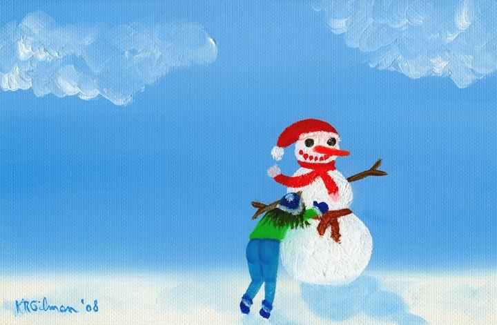 Girl Building Snowman - KRGilman