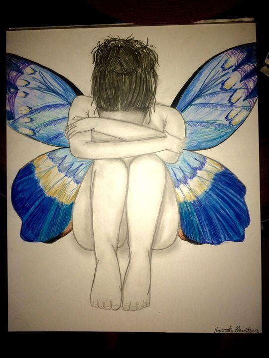 Sad Butterfly Girl - Hannah's Art