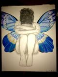 Original Sad butterfly girl drawing