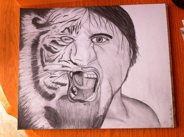 Man tiger drawing - Hannah's Art