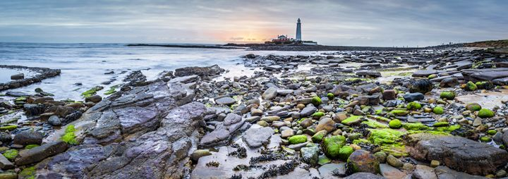 Wintery Dawn at St Marys Lighthouse. - John Cox Photography and Fine Art