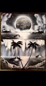 Black and white spray paint art