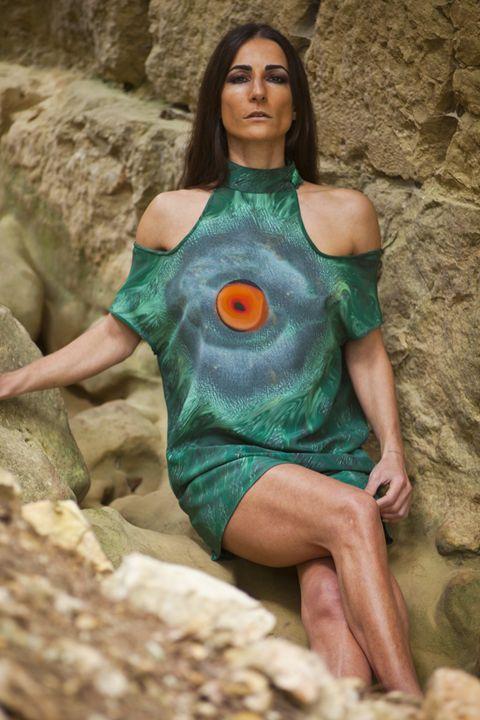 """The Eye of the Soul""mini silk dress - Collectivartists"