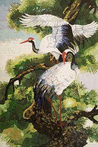 cranes and pine - Mai Nhon