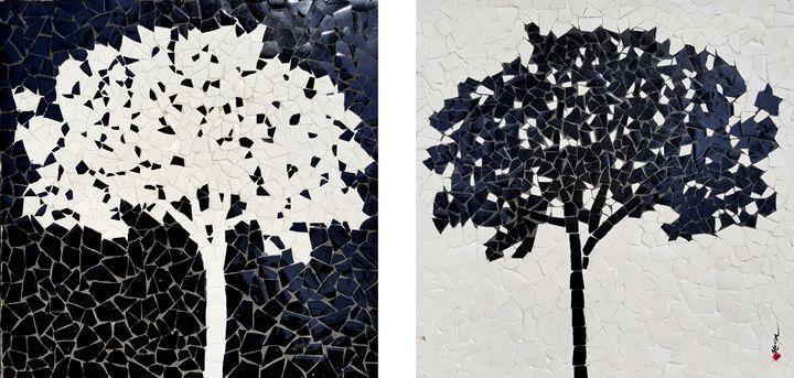 black tree - white tree - Mai Nhon
